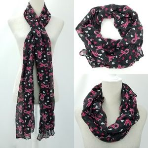 Pink B&W Breast Cancer Awareness Hearts Scarf